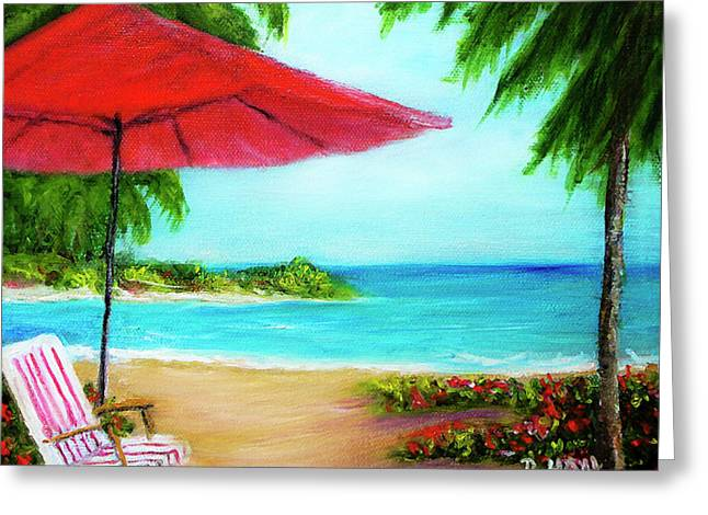 Hawaiian Beach Wave Art Print Painting #441 Greeting Card by Donald k Hall