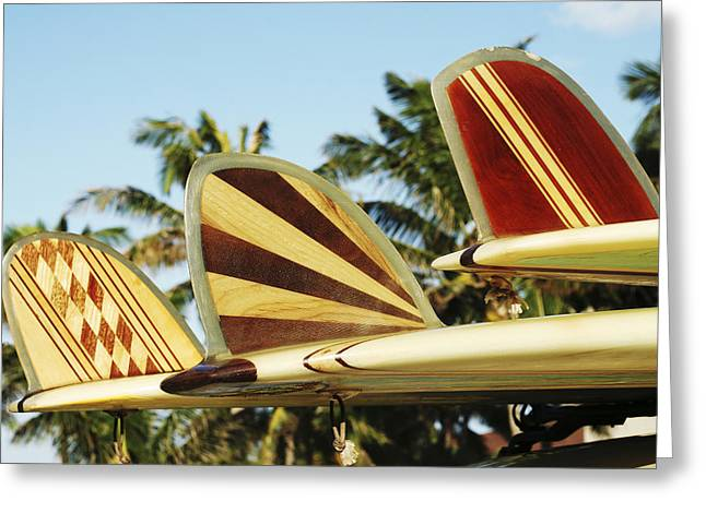 Surfing Art Greeting Cards - Hawaiian design surfboards Greeting Card by Vince Cavataio - Printscapes