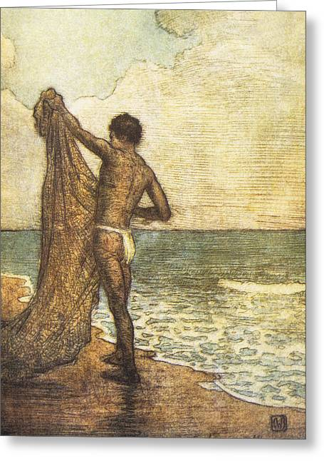 Hawaiian Fisherman Painting Greeting Card by Hawaiian Legacy Archive - Printscapes