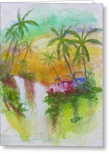 Hawaiian Homestead In The Valley #460 Greeting Card by Donald k Hall