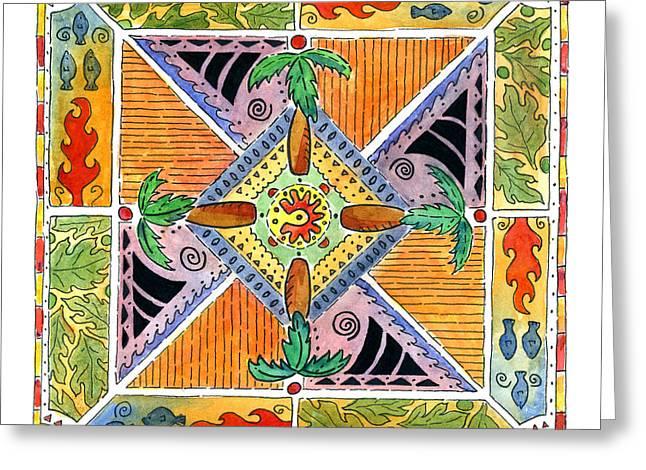 Hawaiian Mandala I - Palm Trees Greeting Card
