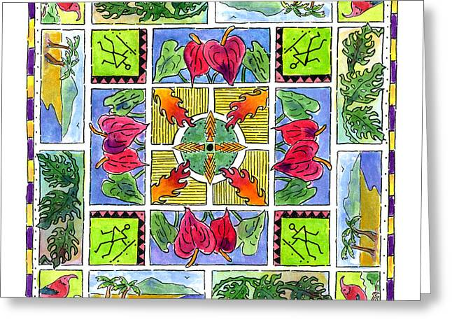 Hawaiian Mandala Iv - Anthuriums Greeting Card