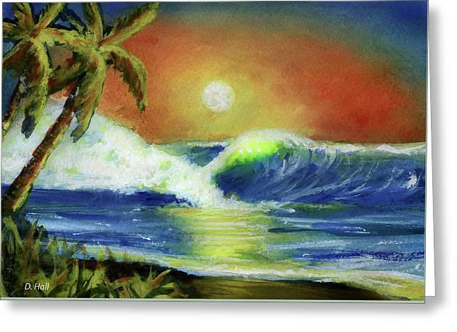Hawaiian Moon #399 Greeting Card by Donald k Hall