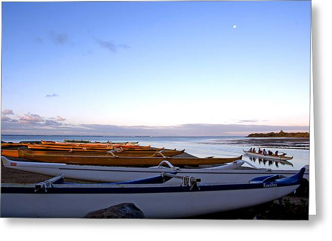 Hawaiian Outrigger Canoes Greeting Card by Kevin Smith