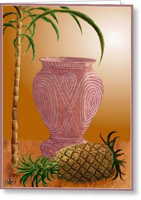 Hawaiian Pineapple Greeting Card by Ron Chambers