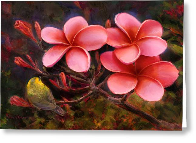 Greeting Card featuring the painting Hawaiian Pink Plumeria And Amakihi Bird by Karen Whitworth