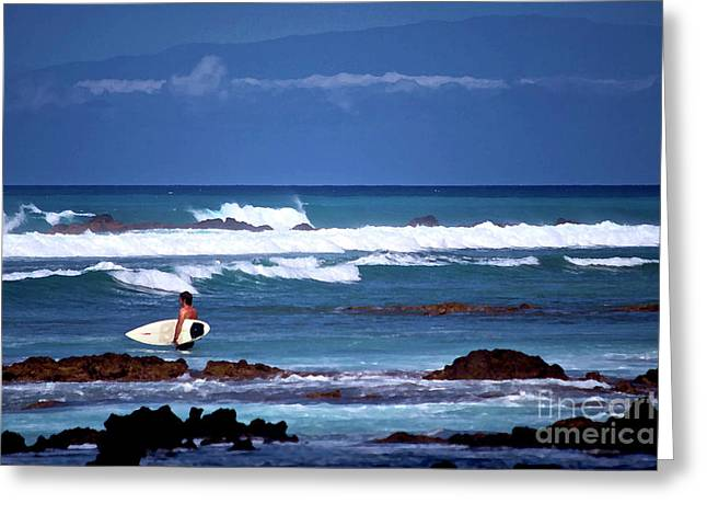 Hawaiian Seascape With Surfer Greeting Card