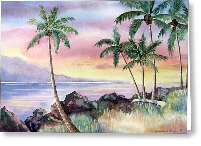 Canoe Paintings Greeting Cards - Hawaiian Sunset Greeting Card by Deborah Ronglien