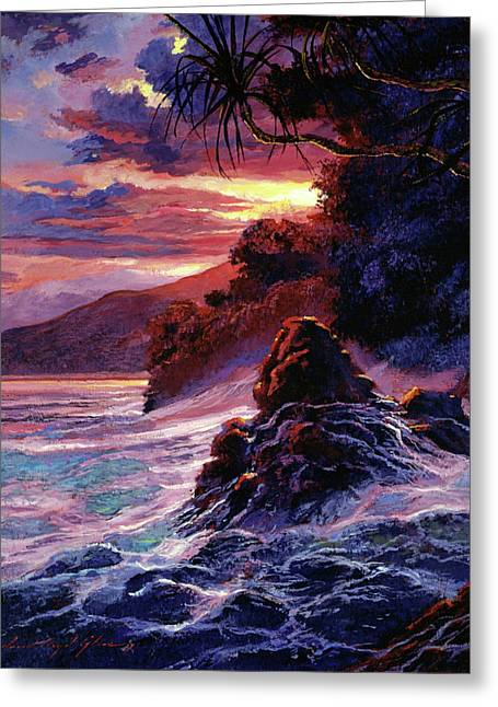 Hawaiian Sunset - Kauai Greeting Card by David Lloyd Glover