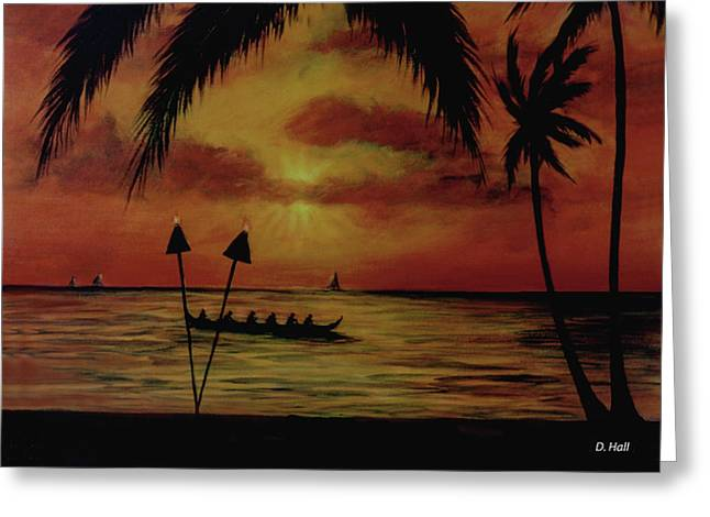 Hawaiian Sunset Paddlers #283 Greeting Card by Donald k Hall