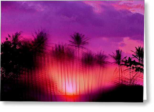 Hawaiian Sunset Greeting Card by Phil Powers