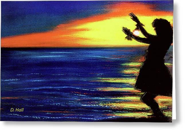 Hawaiian Sunset With Hula Dance  #183, Greeting Card by Donald k Hall