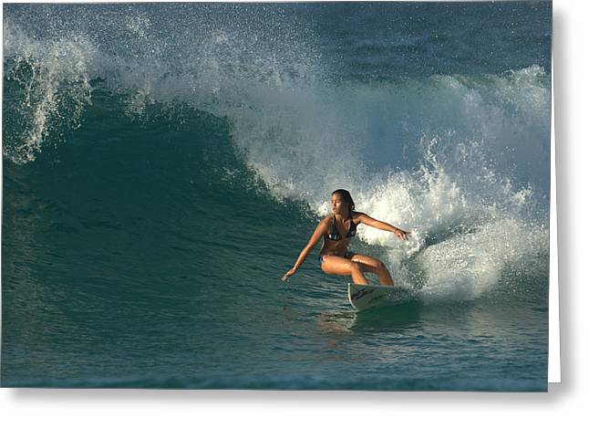 Hawaiian Surfer Girl Bottom Turn Greeting Card by Brad Scott