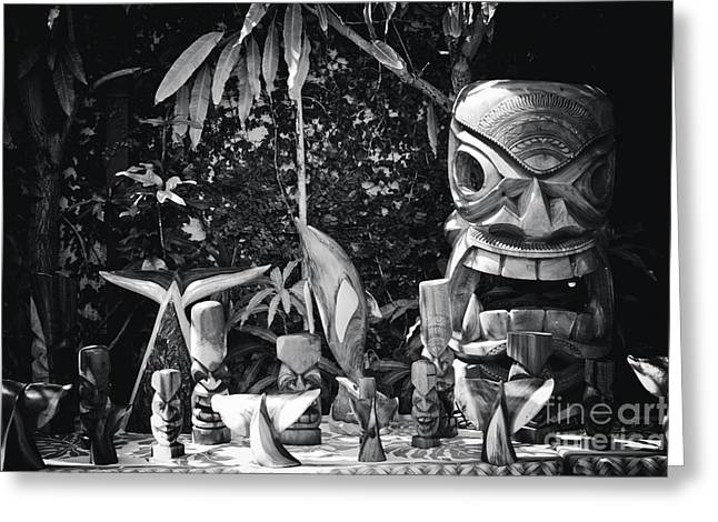 Greeting Card featuring the photograph Hawaiian Tiki Carvings by Sharon Mau