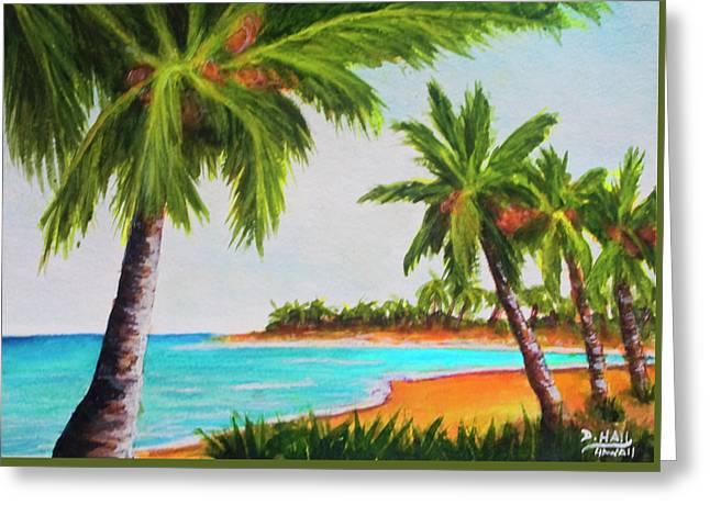 Hawaiian Tropical Beach #429 Greeting Card by Donald k Hall