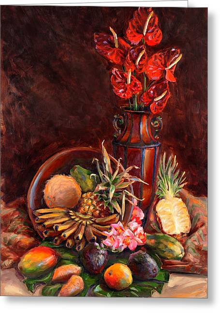 Hawaiian Tropical Fruit Still Life Greeting Card by Karen Whitworth