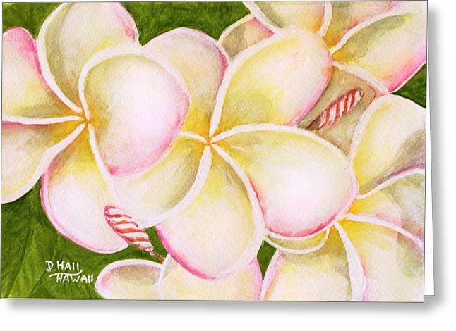 Hawaiian Tropical Plumeria Flower #483 Greeting Card by Donald k Hall