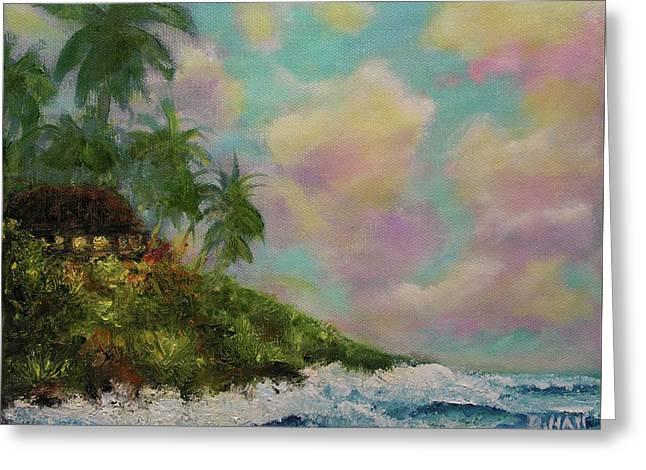 Hawaiian  Twilight Beach Wave Art Print Painting #423 Greeting Card by Donald k Hall