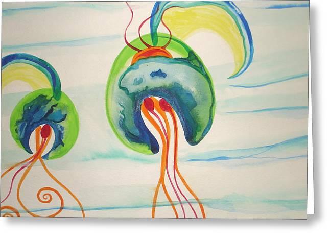 Hawaiian Warrior Jellyfish Greeting Card by Erika Swartzkopf