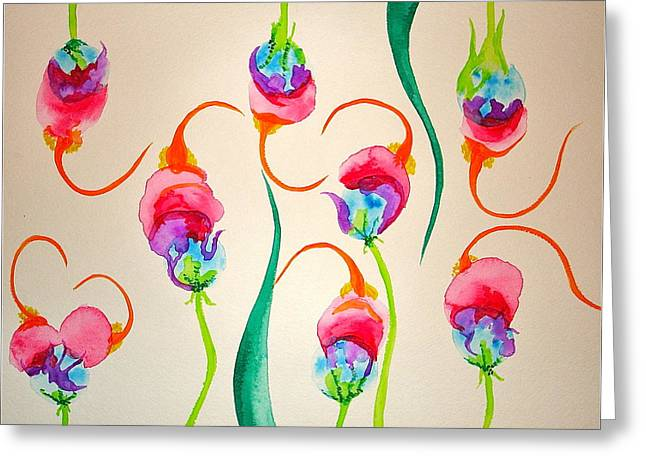 Hawaiian Warrior Upside-down Flowers Greeting Card by Erika Swartzkopf