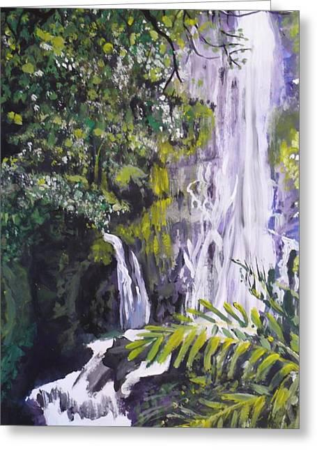 Greeting Card featuring the painting Hawaiian Waterfall by Terri Thompson