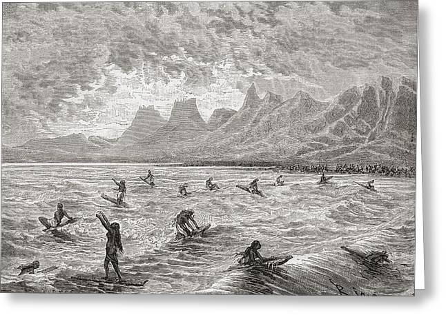 Hawaiians Surfing In The 19th Century Greeting Card