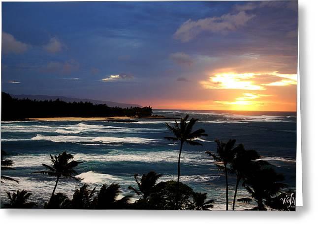 Hawaiin Sunset Greeting Card by Thea Wolff