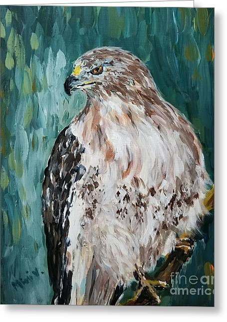 Greeting Card featuring the painting Hawk by Maria Langgle
