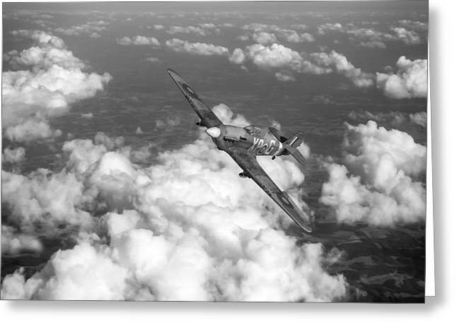 Greeting Card featuring the photograph Hawker Hurricane IIb Of 174 Squadron Bw Version by Gary Eason
