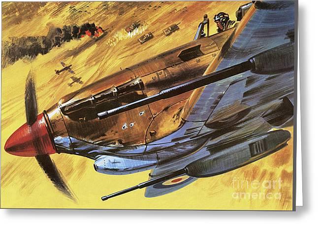 Hawker Hurricane Greeting Card by Wilf Hardy