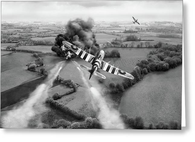 Greeting Card featuring the photograph Hawker Typhoon Rocket Attack Bw Version by Gary Eason