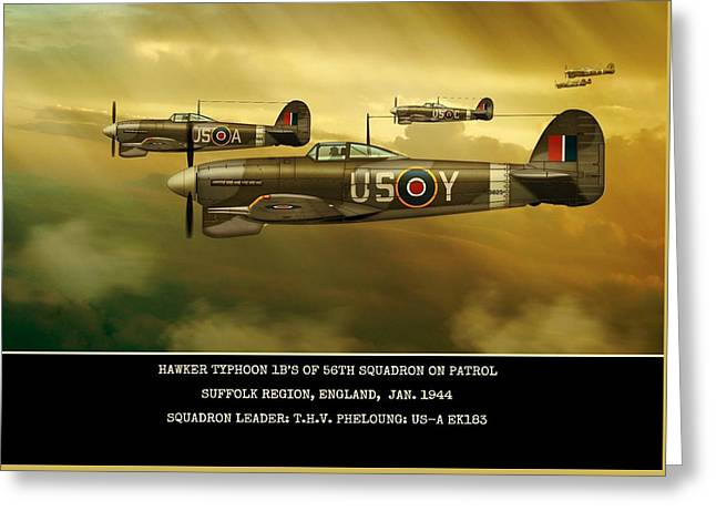 Greeting Card featuring the digital art Hawker Typhoon Sqn 56 by John Wills