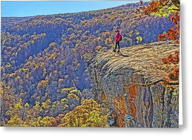 Hawksbill Crag Hiker Greeting Card by Dennis Cox WorldViews