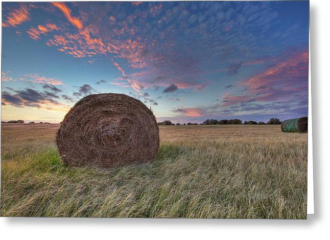 Hay Bales And A Texas Sunset 3 Greeting Card