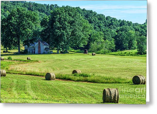 Hay Bales And Farm House Greeting Card by Thomas R Fletcher