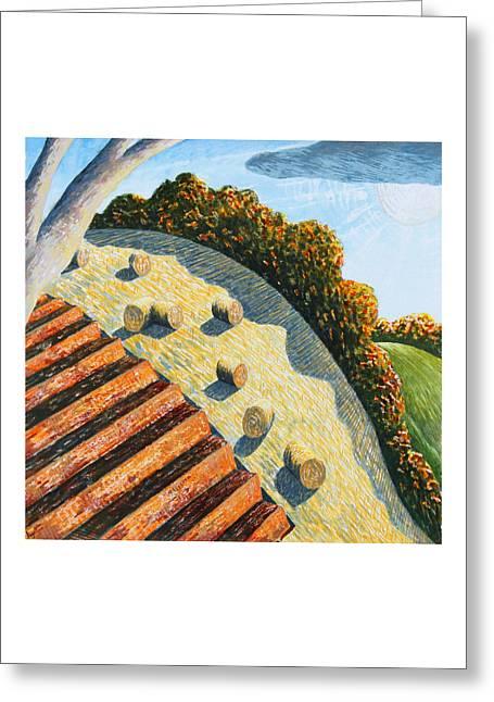 Hay Bales And Hillside Greeting Card by Adrian Jones