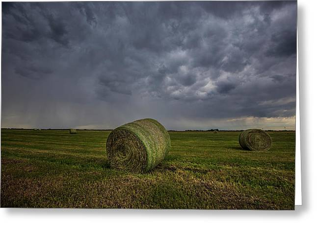Hay Bales And Rain  Greeting Card