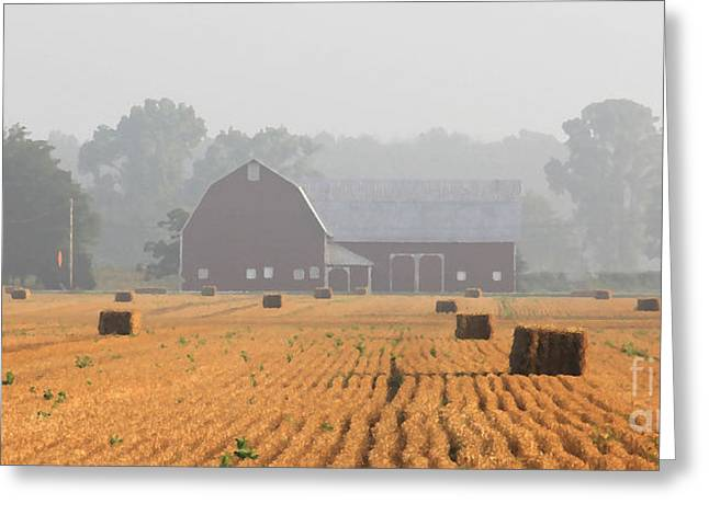 Bale Greeting Cards - Hay Bales and Red Barn at Sunrise Greeting Card by Jack Schultz