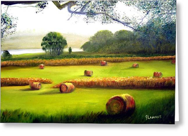 Hay Bales Greeting Card by Julie Lamons