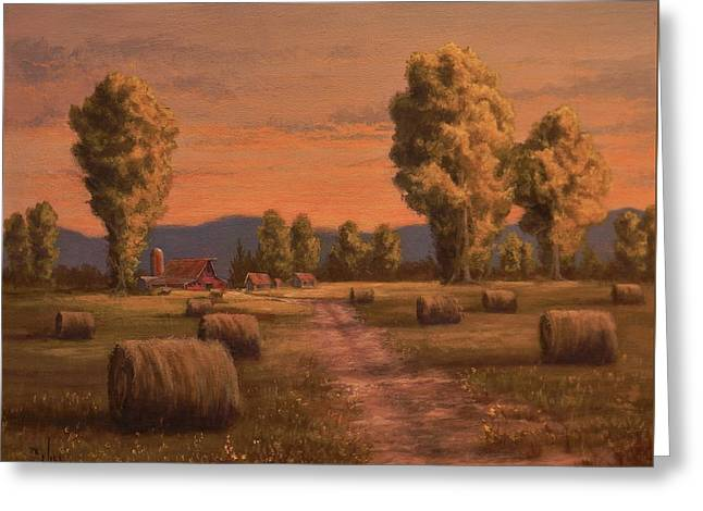 Hay Bales Greeting Card by Paul K Hill