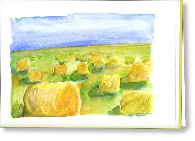Hay Bales Greeting Card by Rodger Ellingson