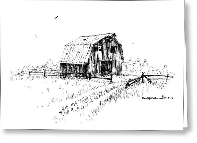 Hay Barn With Broken Gate Greeting Card