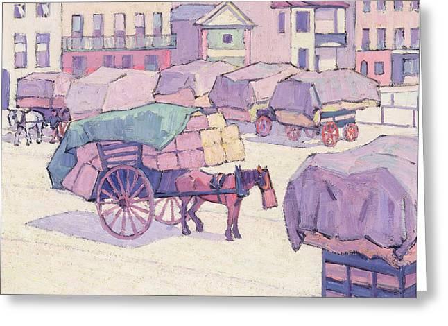 Hay Carts - Cumberland Market Greeting Card by Robert Polhill Bevan
