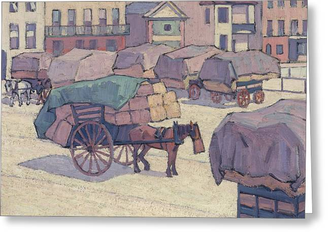 Hay Carts, Cumberland Market Greeting Card by Robert Bevan