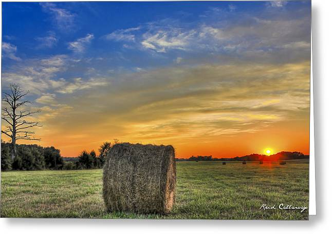 Hay Down Sunset Greeting Card by Reid Callaway