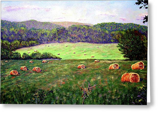 Hay Field Greeting Card by Stan Hamilton