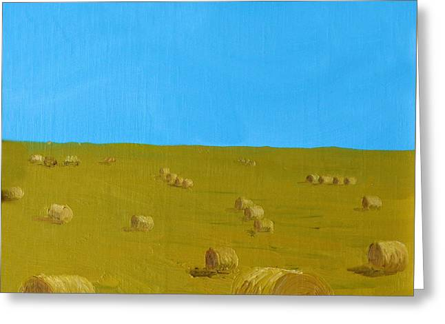 Hay Harvest Greeting Card by Tom Amiss