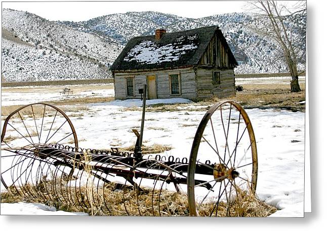 Hay Rake At Butch Cassidy Greeting Card by Nelson and Cheryl Strong