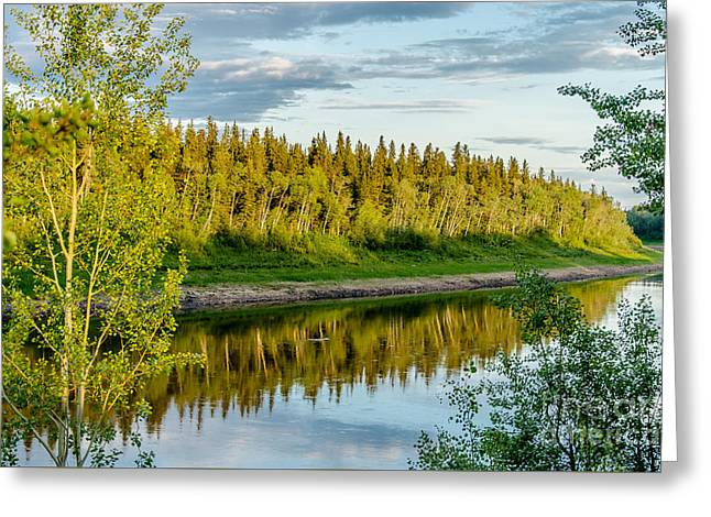 Hay River In The Evening Greeting Card by Lisa Killins