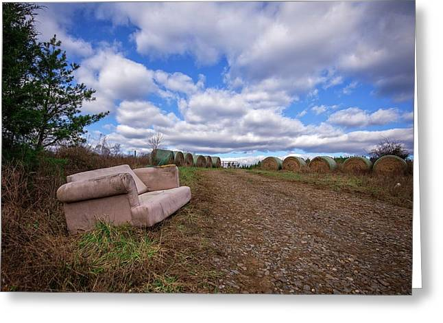 Greeting Card featuring the photograph Hay Sofa Sky by Alan Raasch